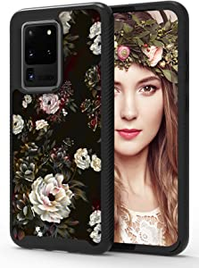 ShinyMax Galaxy S20 Ultra Case with Roses Design,Samsung S20 Ultra 5G Phone Case,Hybrid Triple Layer Armor Protective Cover Sturdy Anti-Scratch Shockproof Cute Case for Women and Girls-Flowers/Black