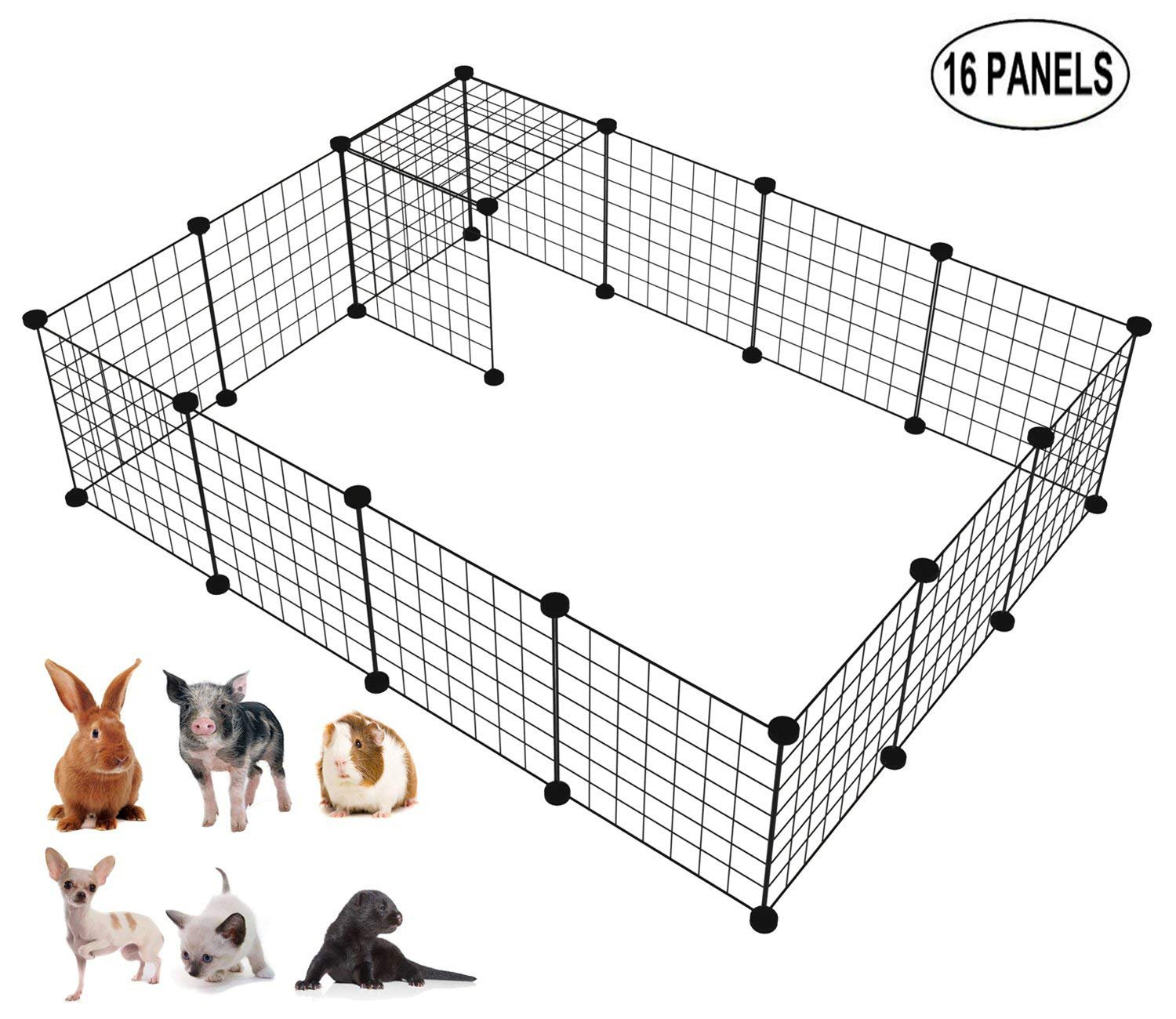 LANGXUN 16pcs Metal Wire Storage Cubes Organizer, DIY Small Animal Cage Rabbit, Guinea Pigs, Puppy | Pet Products Portable Metal Wire Yard Fence (Black, 16 Panels) by LANGXUN (Image #1)