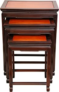 Oriental Furniture Rosewood Nesting Tables - Two-tone