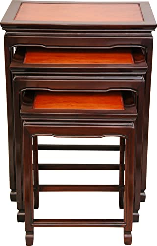 Oriental Furniture Rosewood Nesting Tables – Two-tone