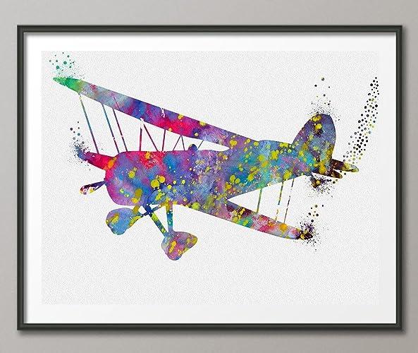 Bi Plane Watercolor Poster Art Print Wall Decor Artworks Dining Room