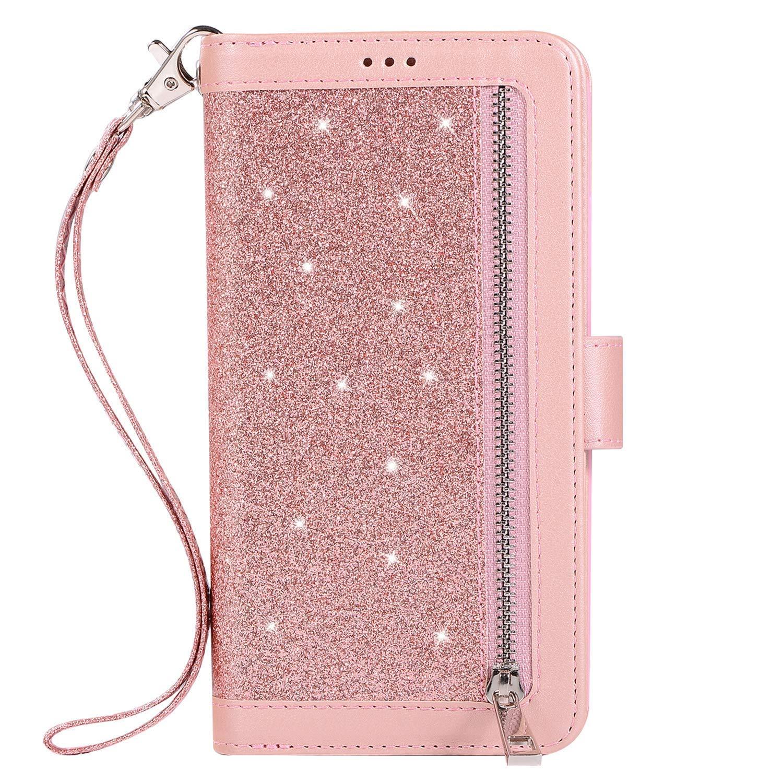 JAWSEU Funda Brillante Compatible con Samsung Galaxy S9 Brillo Bling Glitter Billetera Libro PU Cuero y Suave Silicona Carcasa Soporte Plegable Ranuras para Tarjetas Cierre Magnético Case,Roja