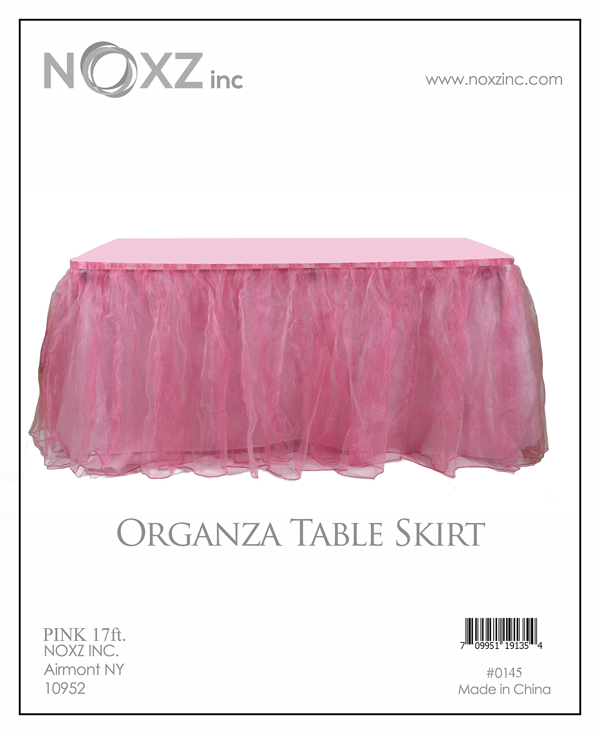 NOXZ Inc Organza Table Skirt for Every Occasions, Pink - 17 Ft.