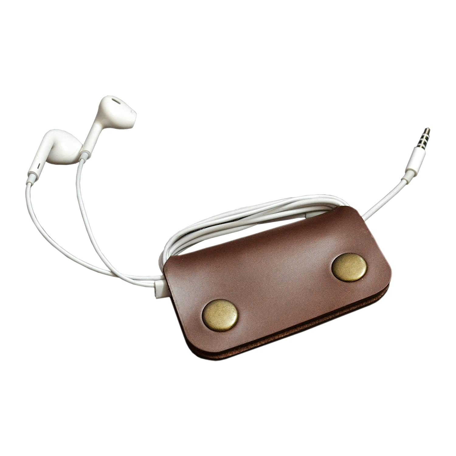 Faux Leather Brown Earphone Winder Wallet Case Earphone Manager