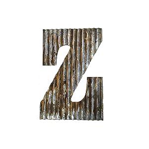 Farmhouse Rustic 24'' Wall Decor Corrugated Metal Letter Z