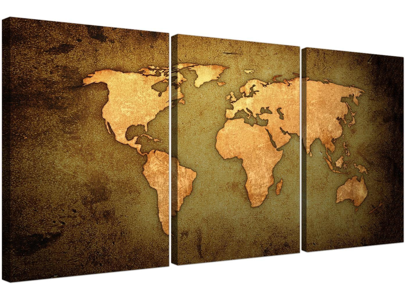 Vintage world map canvas art set of three for your study large vintage world map canvas art set of three for your study large antique effect canvases 3189 wallfillers amazon kitchen home gumiabroncs Image collections