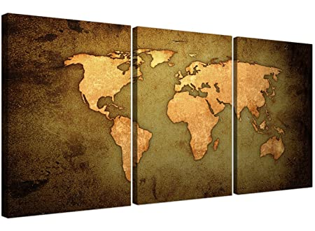 Vintage world map canvas art set of three for your study large vintage world map canvas art set of three for your study large antique effect canvases gumiabroncs Image collections