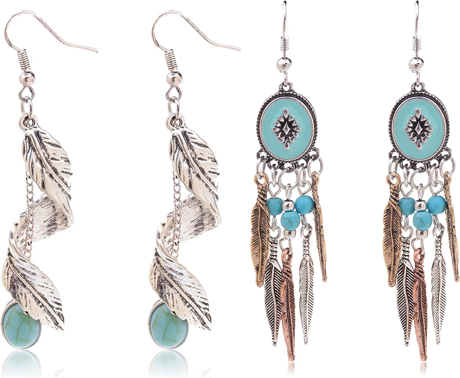 Ginasy Bohemia Spiral Drop Earrings Teardrop Simulated Turquoise Dangle Earrings Fashion Jewelry for Women Girls Valentines Day Gifts