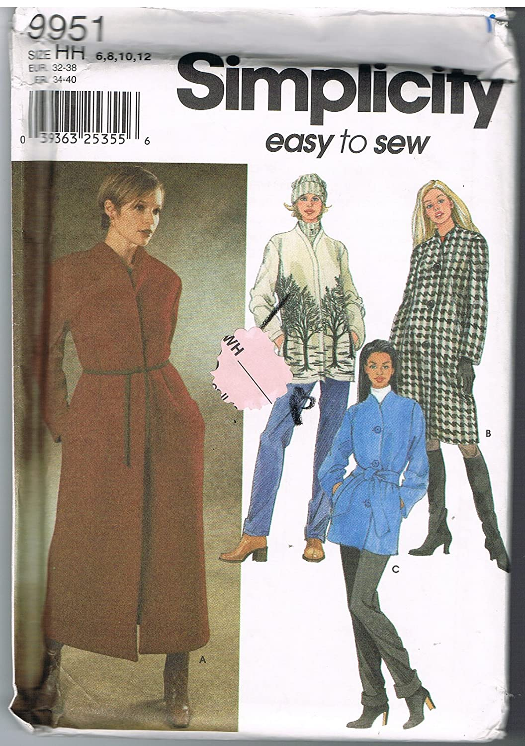 Simplicity 9951 Easy Coats by Sew Easy   B00HRCJXQ6
