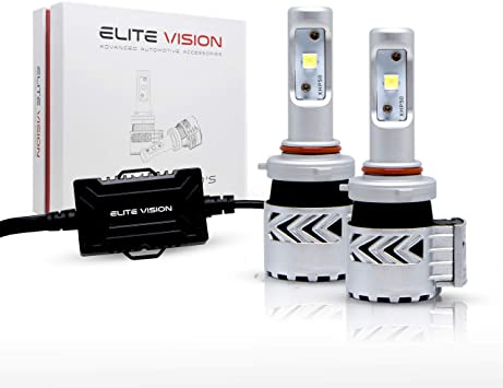 Elite Vision LED Conversion Kit 9012 7600LM Cree LED Chip 6000K 60W Universal Fit Extremely Bright White Headlights Bulbs, For Low Beams, High Beams, Fog Lights