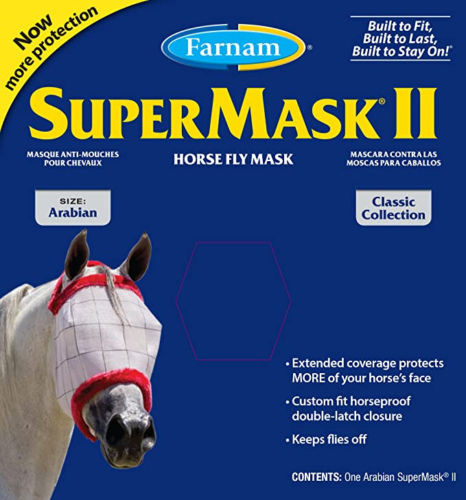 Amazon.com : Farnam SuperMask II Classic Horse Fly Mask with Ears, Horse size, Assorted : Horse Fly Control : Pet Supplies