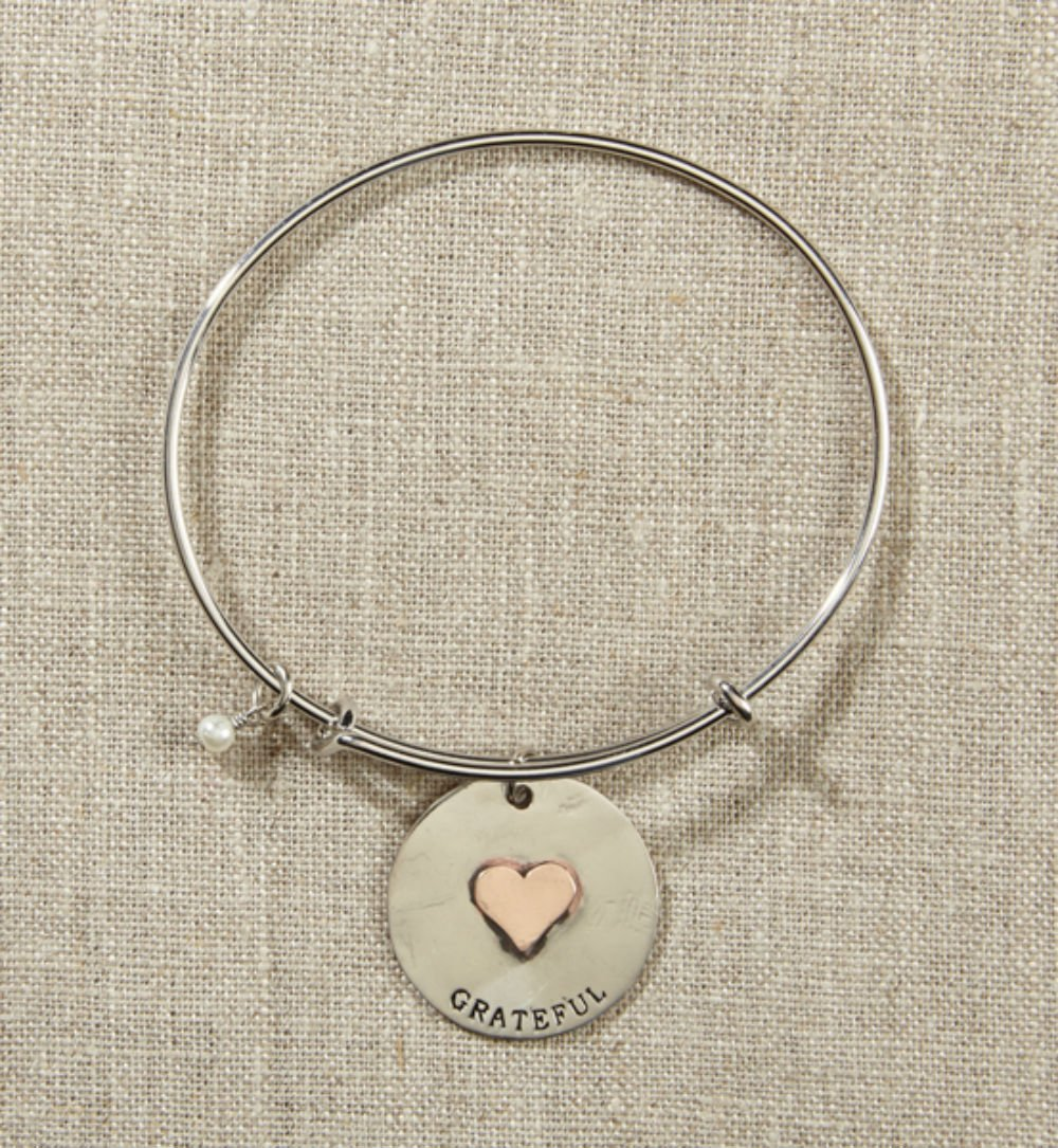 Set of 4 Grateful Heart Silver Bangle with Heart by AT001