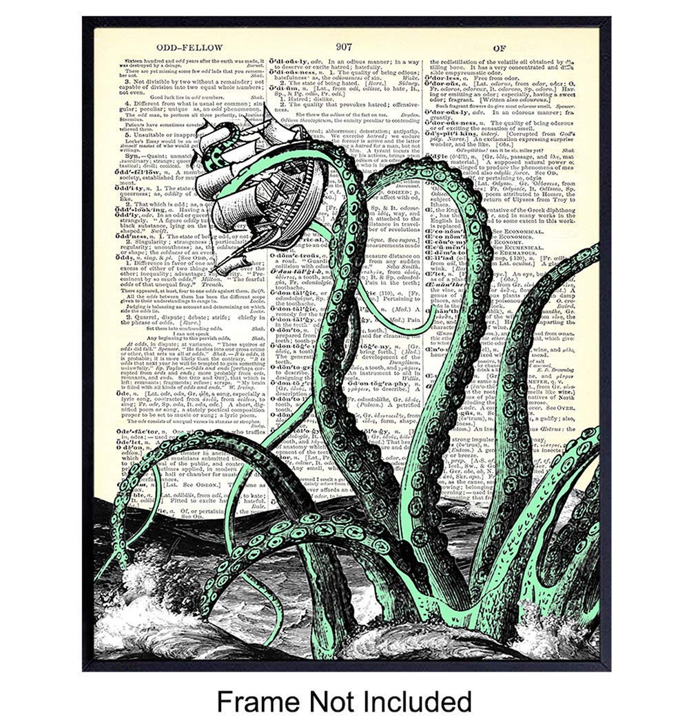 Dictionary Art Print 8x11 Mixed Media Poster on Vintage Dictionary Page Fresh Prints of CT Printed on Recycled Vintage Dictionary Paper Octopus