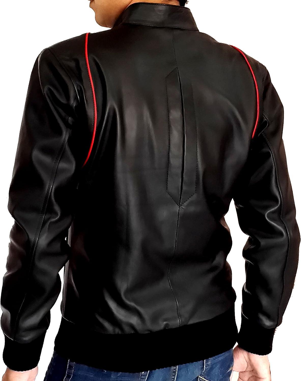 New Mens Genuine Lambskin Leather Slim Fit Biker Motorcycle Jacket for Men P064