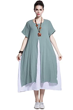 6418ed7448f Anysize Fake-Two-Piece Soft Linen Cotton Dress Spring Summer Plus Size  Clothing Y110