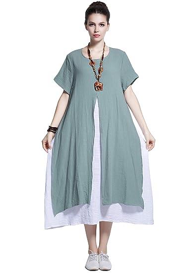 d07725c04b2ce Anysize Fake-Two-Piece Soft Linen Cotton Dress Spring Summer Plus ...