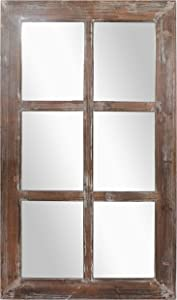 "Barnyard Designs Rustic Wood Window Mirror Decorative Window Frame Wall Mirror, Country Farmhouse Wall Decor, 40"" x 24"""