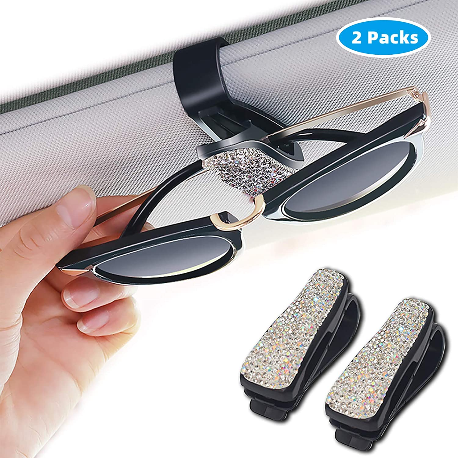 180/° Rotationa ASANMU 2 Pack Glasses Holders for Car Sun Visor Purple Sunglasses Eyeglasses Mount with Ticket Card Clip Double-Ends Clip