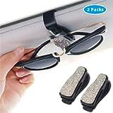 Glasses Holders for Car Sun Visor 2 Pack, Bling Bling Diamond Sunglasses Eyeglasses Mount with Ticket Card Clip (White)