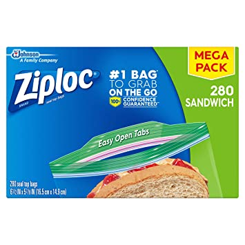 Amazon.com: Ziploc Bolsas para sándwiches, 280 unidades ...