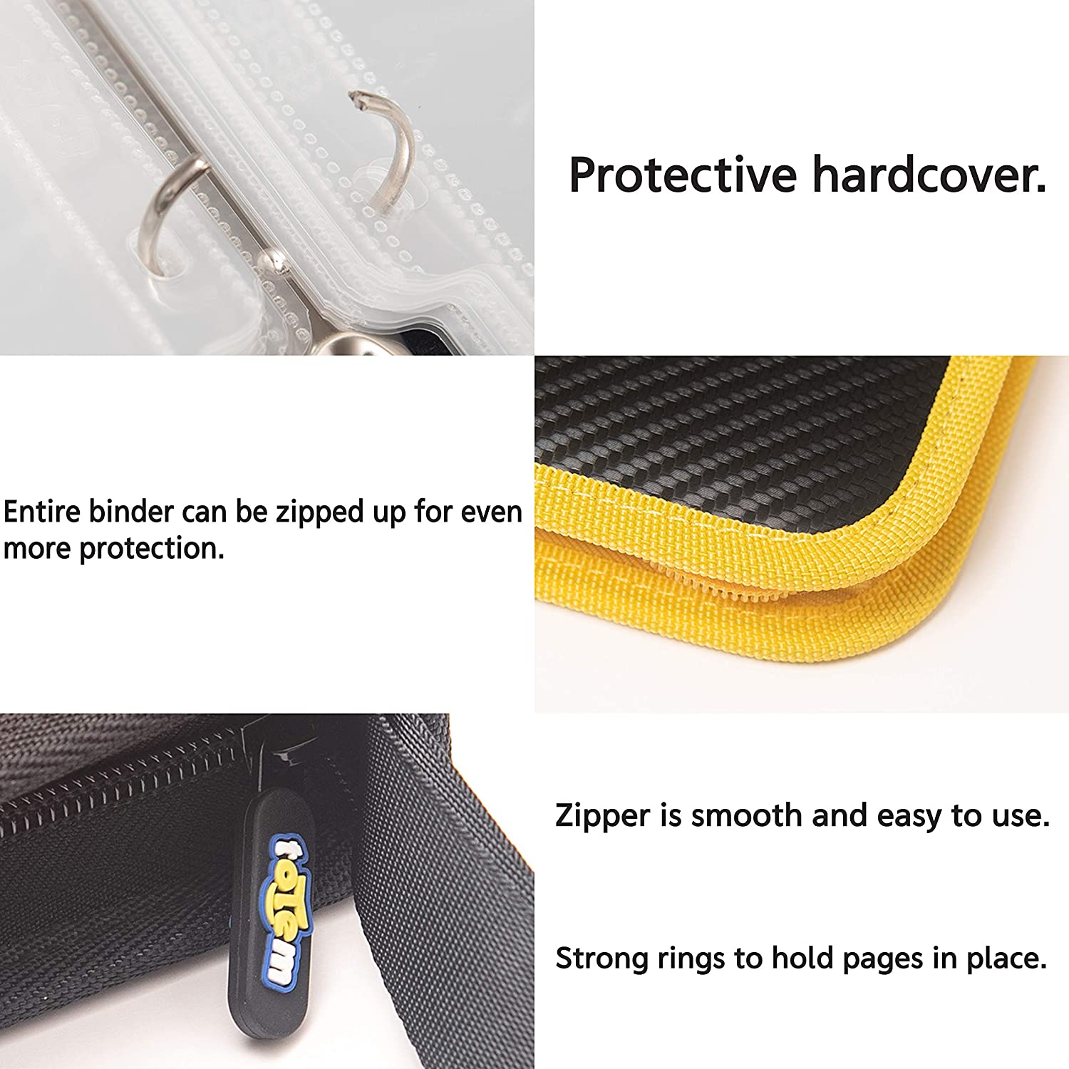 Yu-Gi-Oh 40 9-Pocket Side-Loading Pages and Magic The Gathering Cards Fits Pokemon Totem World 3-Ring Zipper Binder with Yellow Zipper