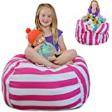"Creative QT EXTRA LARGE Stuff 'n Sit - Stuffed Animal Storage Bean Bag Chair for Kids - Pouf Ottoman for Toy Storage - Available in 2 Sizes and 5 Patterns (38"", Pink Stripe)"