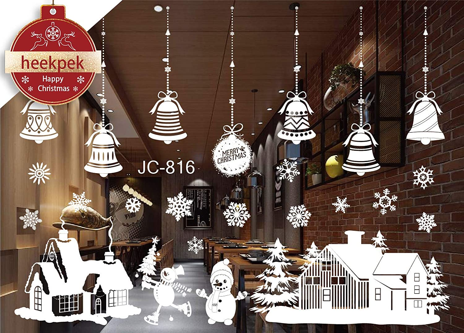 Christmas Santa Claus Snowman Reindee Window Wall Stickers Removable Mural for Home Decoration 50 * 70cm (A) Heekpek®