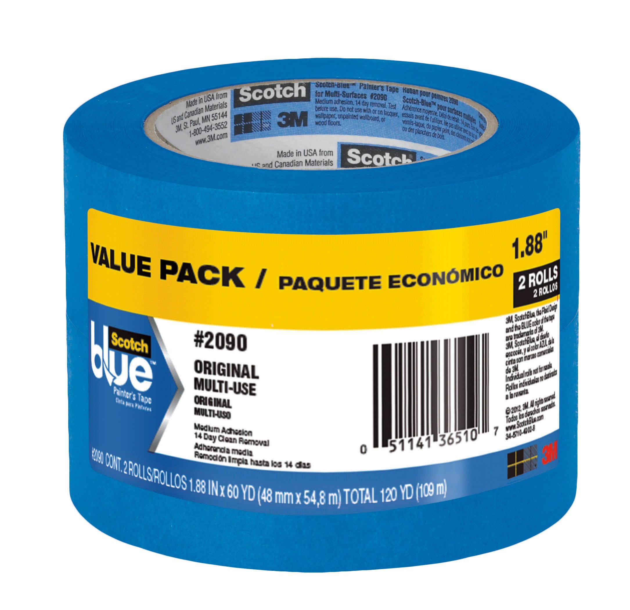 ScotchBlue Painter's Tape, Multi-Use, 1.88-Inch by 60-Yard, 2 Rolls
