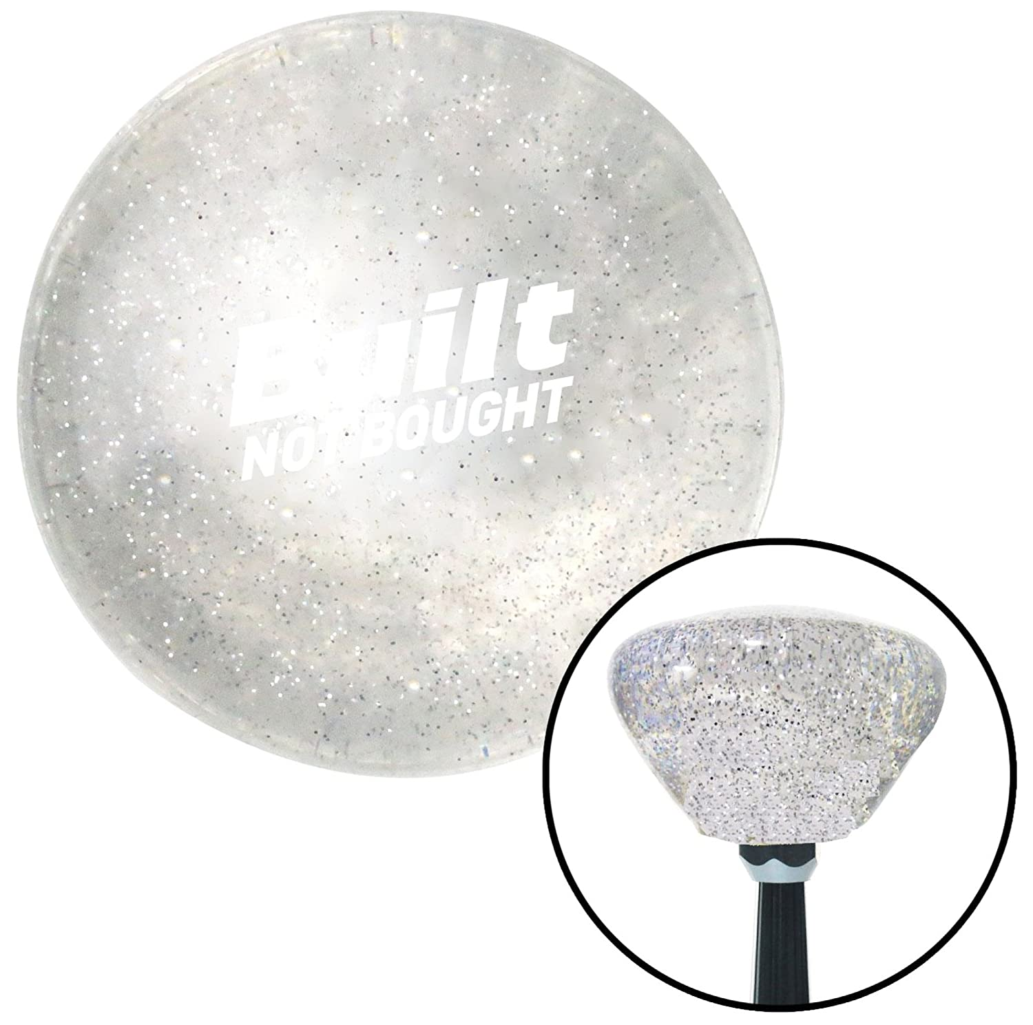 American Shifter 327694 White Built Not Bought Simple Clear Retro Metal Flake Shift Knob with M16 x 1.5 Insert