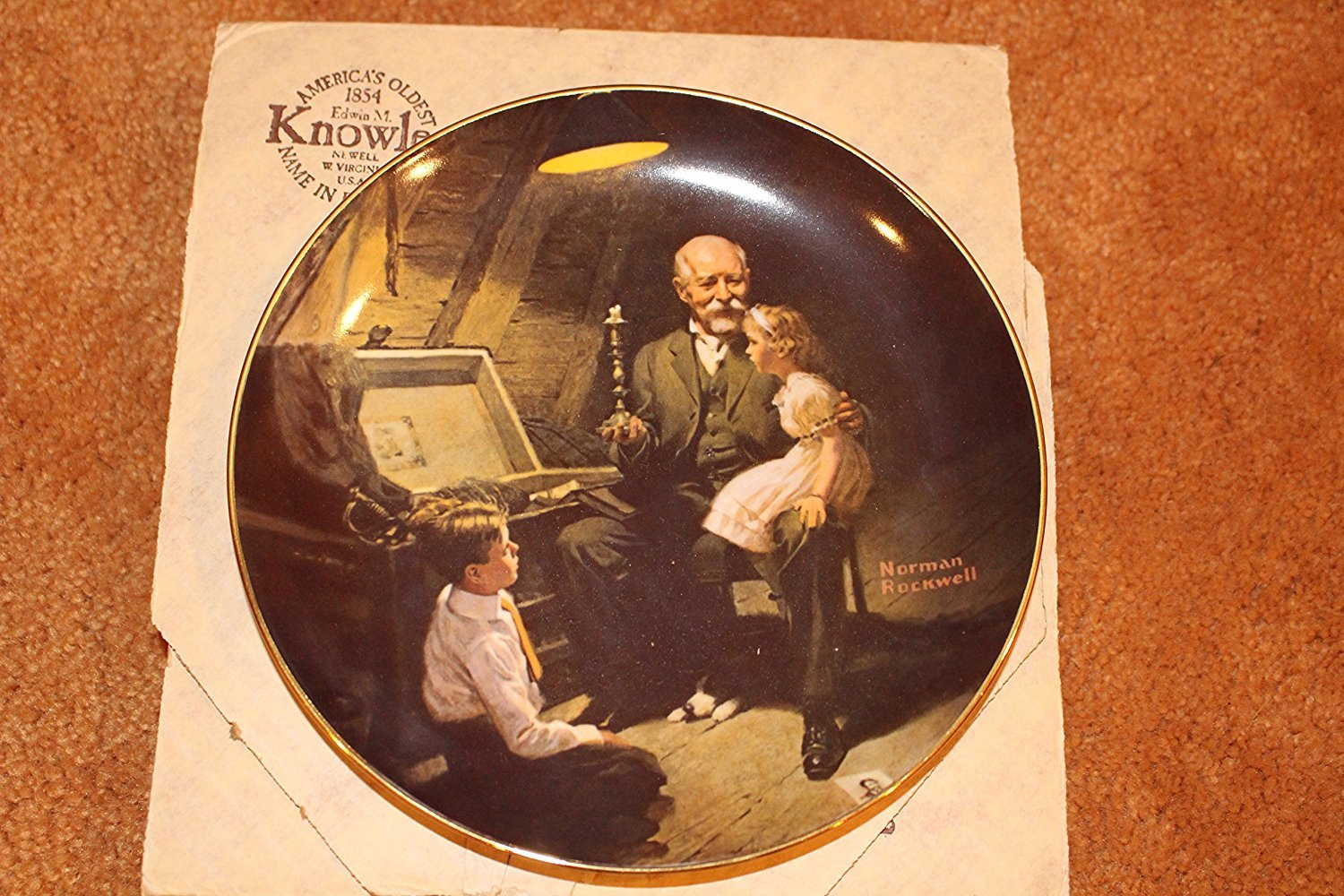 """""""Grandpa's Treasure Chest"""" decorative plate by Norman Rockwell (Rockwell's Light Campaign) Edwin M. Knowles China Co. Bradex number: 84-R70-6.2"""