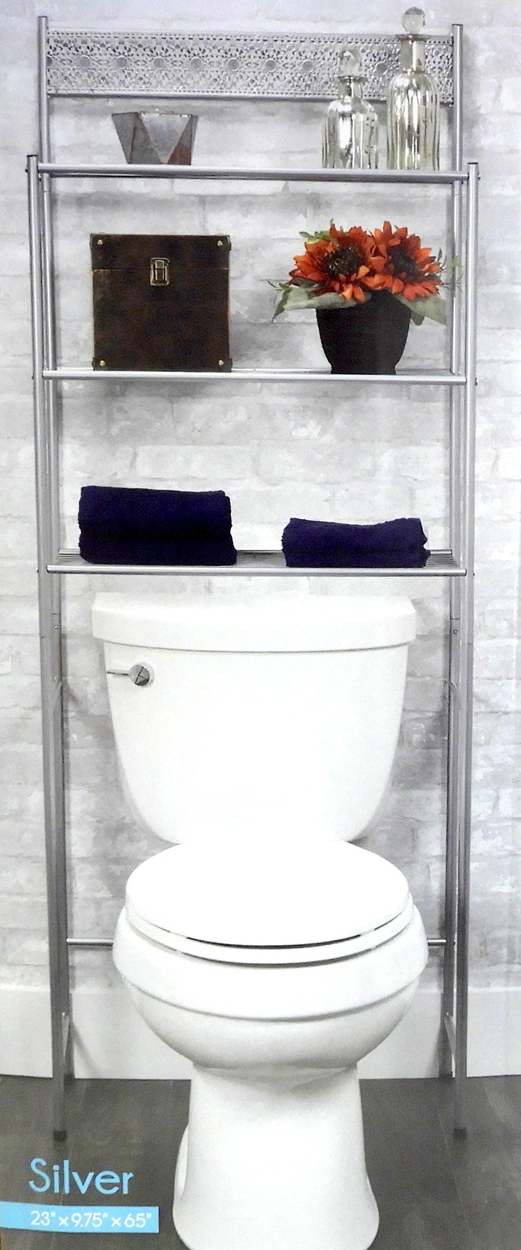 DINY Home Collections 3 Shelf Over The Toilet Spacesaver Easy to Assemble (Silver) 65'' Tall