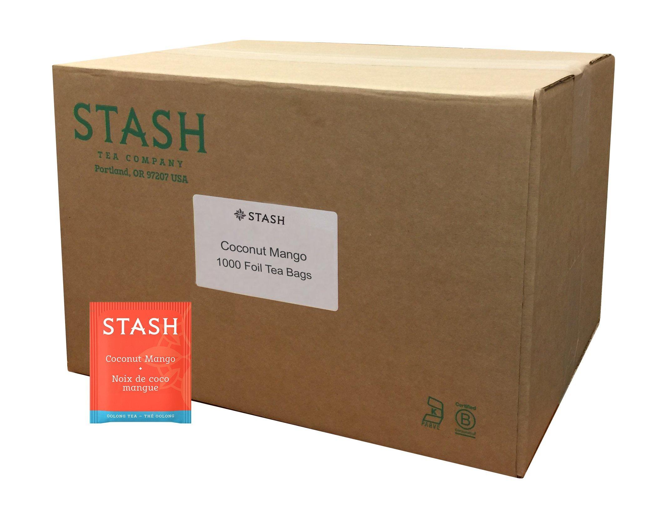 Stash Tea Coconut Mango Wuyi Oolong Tea 1000 Count Tea Bags in Foil, Individual Black Tea Bags for Use in Teapots Mugs or Cups, Brew Hot Tea or Iced Tea, Fair Trade Certified