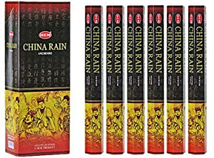 China Rain - Box of Six 20 Stick Hex Tubes - HEM Incense Hand Rolled In India