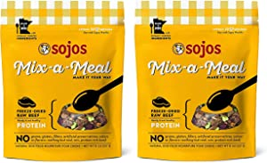 SOJOS 2 Pack of Freeze-Dried Raw Beef Mix-a-Meal Protein, 8 Ounces Each, Single Ingredient