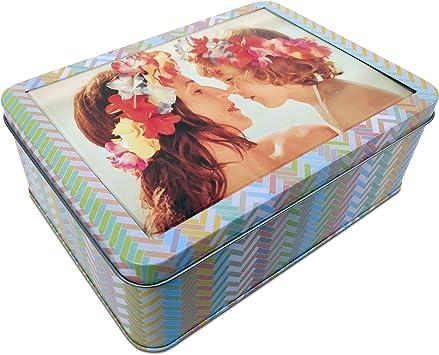 LolaPix Caja metálica Grande Personalizada con Foto. Caja Regalo de Aluminio. Estuche Personalizado. Regalo Original. Varios Modelos Disponibles. Colores Grande: Amazon.es: Hogar