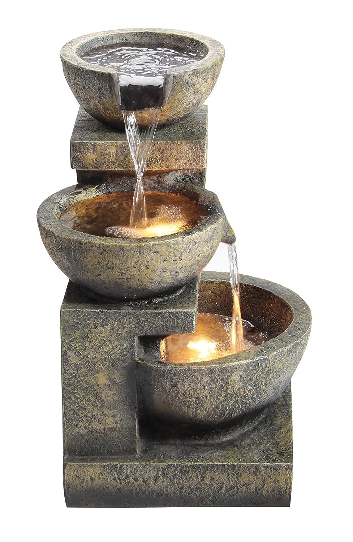 Fontana tre conche di granito con luci: amazon.it: giardino e ...