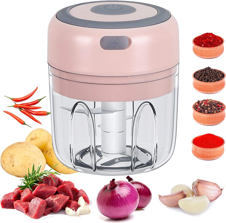 Mini Food Chopper, 250ML Mini Garlic Chopper Small Food Processor Garlic Crusher Mincer for Chili Garlic Vegetables Onions Pepper Meat Nut-Pink