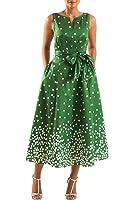 eShakti Women's Polka dot print dupioni midi dress