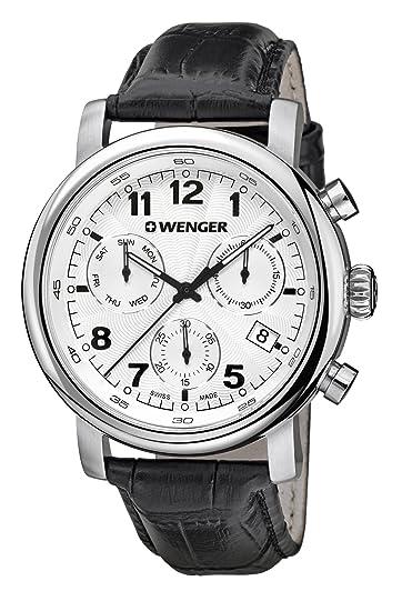 Wenger Reloj Cronógrafo para Hombre de Cuarzo con Correa en Cuero 01.1043.109: Amazon.es: Relojes