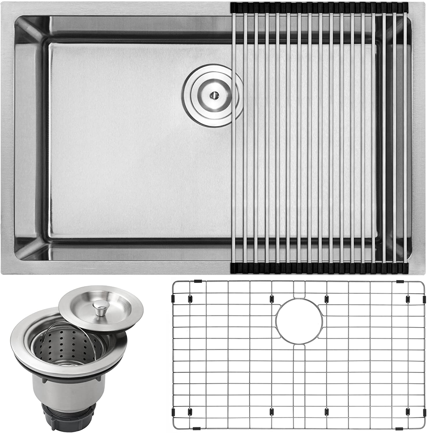 28 Ticor PLZ-24 Undermount 18 Gauge Stainless Steel Tight Radius Single Bowl Kitchen Sink with Accessories