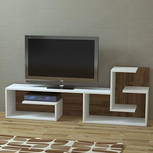 Armoni - Mueble para TV, Madera de Nogal, Moderno diseño, Color Blanco: Amazon.es: Hogar