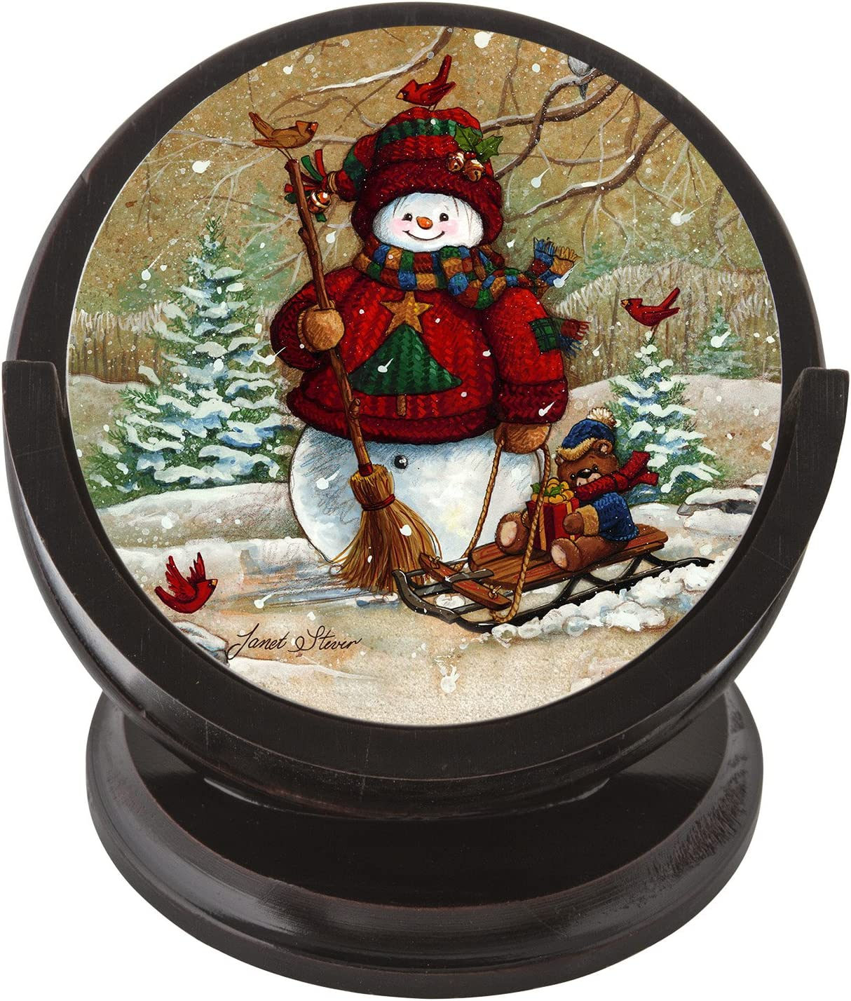 Thirstystone Snowman Sandstone Coaster Set with Wood Holder Included, Multicolor