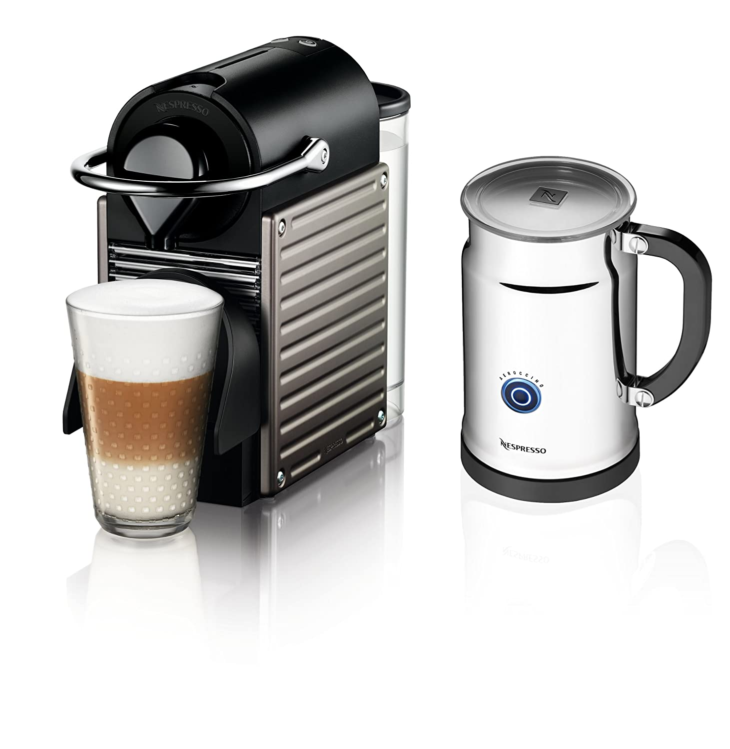 Nespresso Pixie Espresso Maker With Aeroccino Plus Milk Frother, Electric Titan Discontinued Model