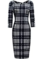Ranphee Women's Vintage Striped Print 3/4 Sleeve Work Bodycon Sheath Pencil Dress