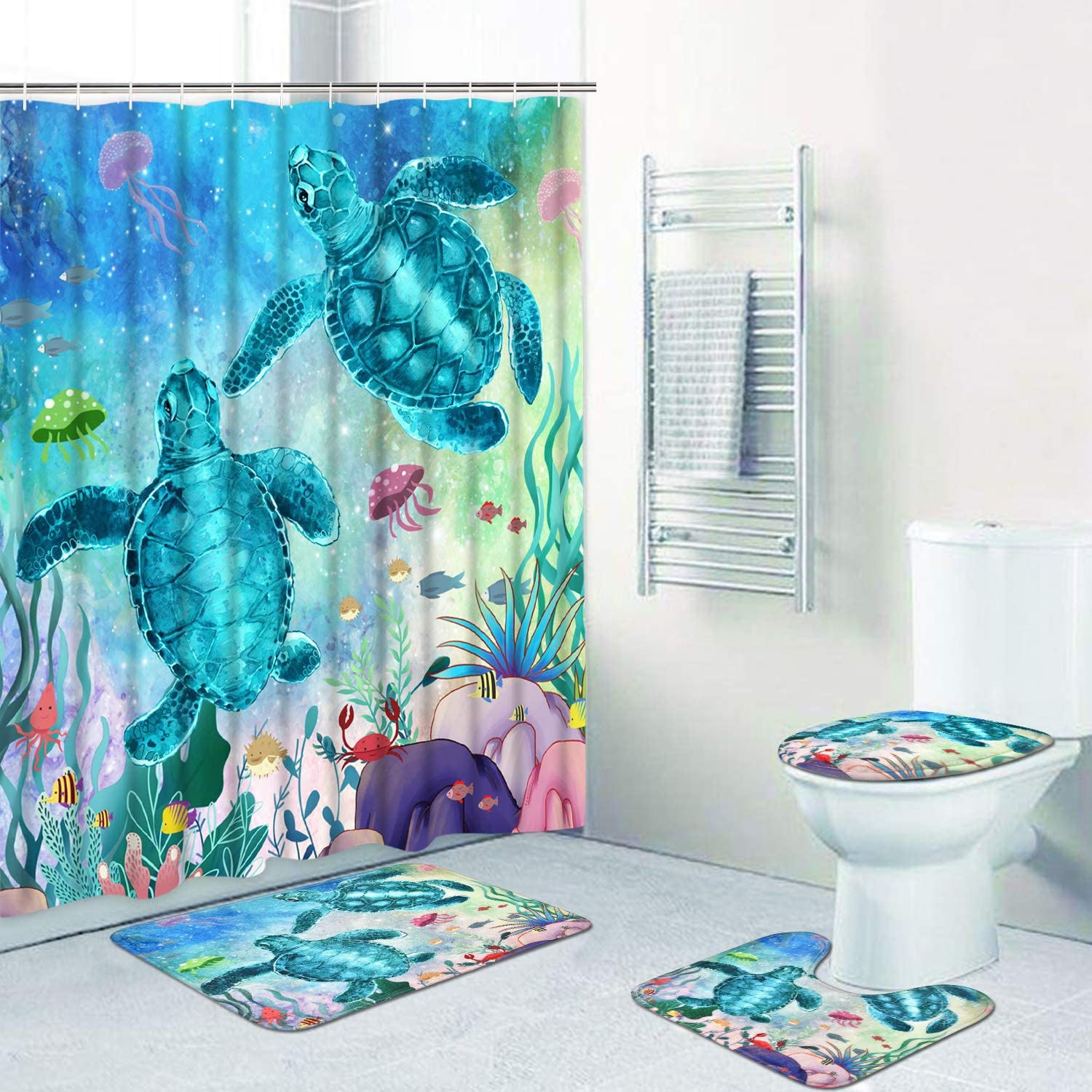 Alishomtll 4 Pcs Sea Turtle Shower Curtain Set with Non-Slip Rug, Toilet Lid Cover, Bath Mat and 12 Hooks, Ocean Creature Landscape Waterproof Shower Curtain Sets for Bathroom