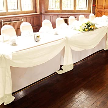 Vlovelife ivory 5m135m sheer organza swag fabric top table swag vlovelife ivory 5m135m sheer organza swag fabric top table swag diy wedding car junglespirit Gallery