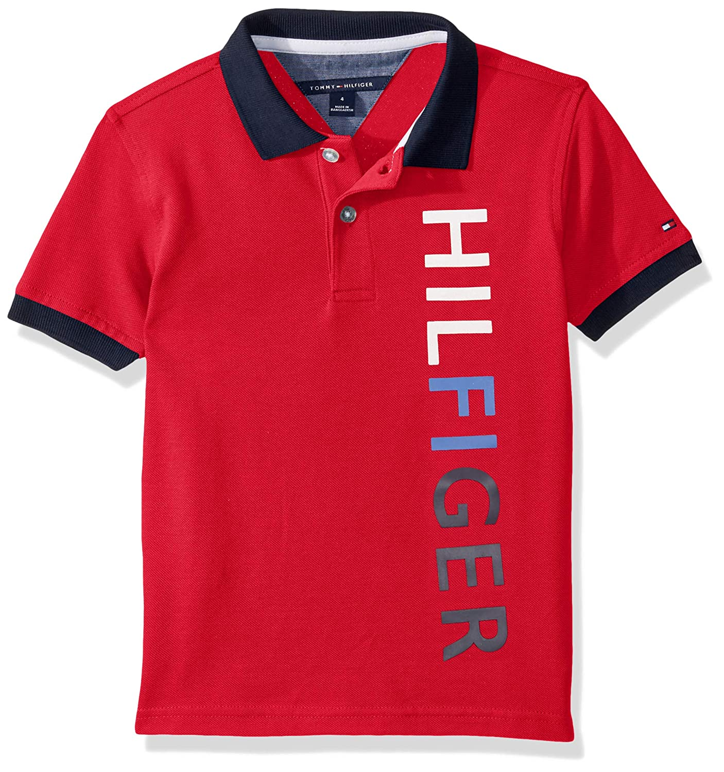 Tommy Hilfiger Boys Vertical Logo Short Sleeve Polo Shirt