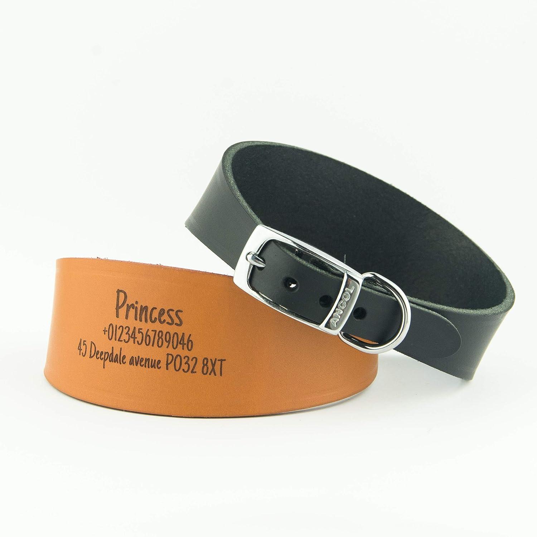 Colliers de chien personnalisés Ancol | Levrette | Lurcher | Whippet | Sloughi | Limier | 2 couleurs de cuir héritage | 2 tailles | 2 polices à personnaliser