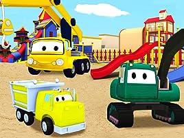 Equipo Constructor construye una torre de agua y mejora el patio de recreo. ¡Ethan el camión volquete, Edgar la excavadora y Charlie la grúa son los ...