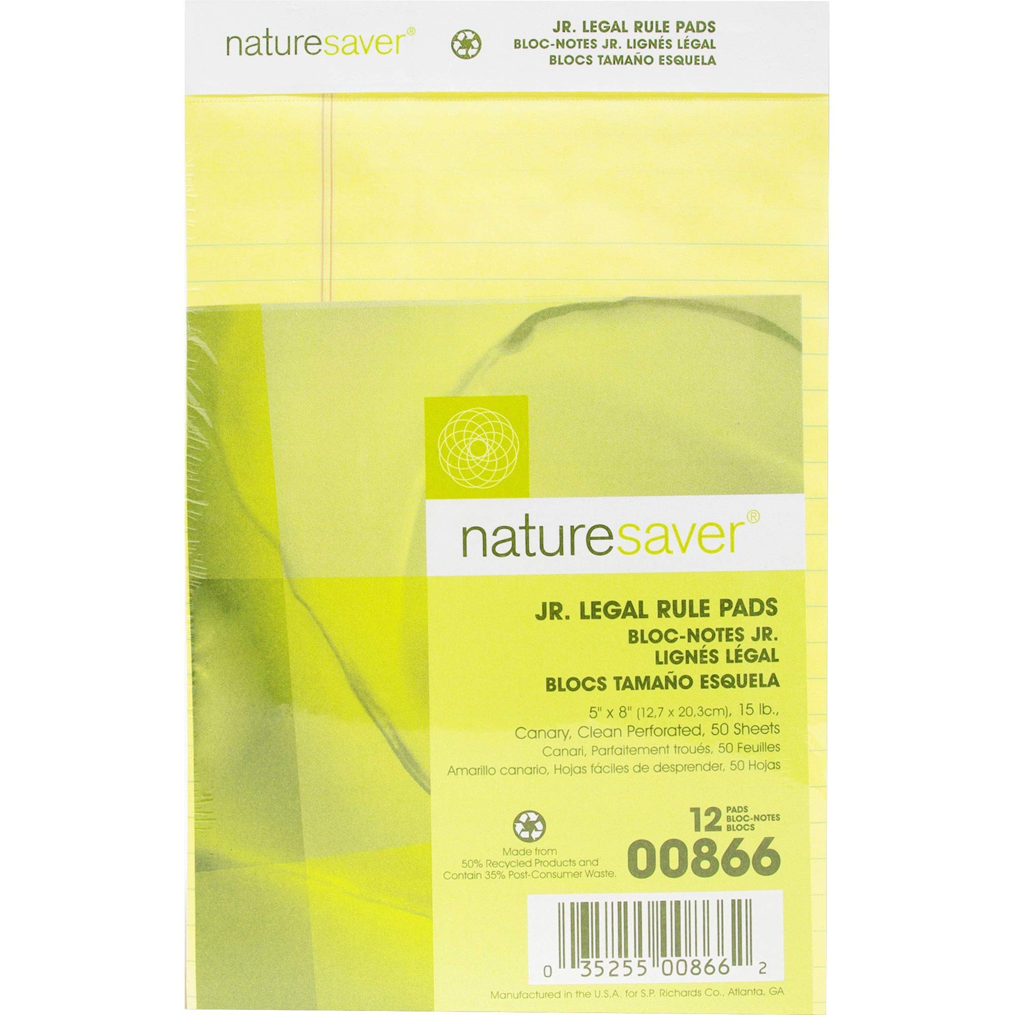 Nature Saver Recycled Pad, Jr. Legal Ruled, 5 x 8 Inches, 50 Sheets, Canary (NAT00866)